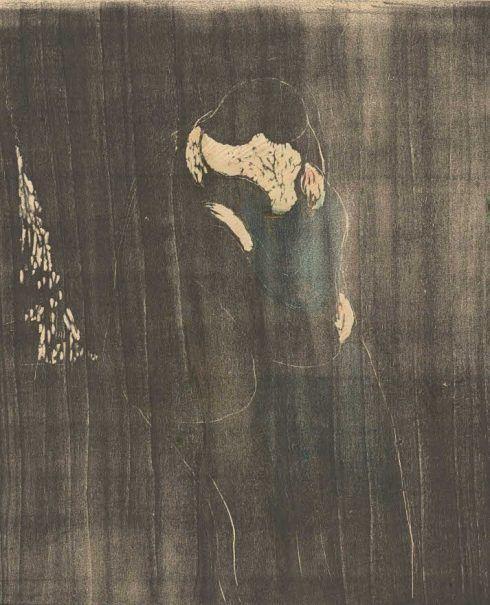 Edvard Munch, Der Kuss I, 1897, Holzschnitt, handkoloriert, Privatsammlung Courtesy Galleri K, Oslo © Foto Courtesy Galleri K, Oslo