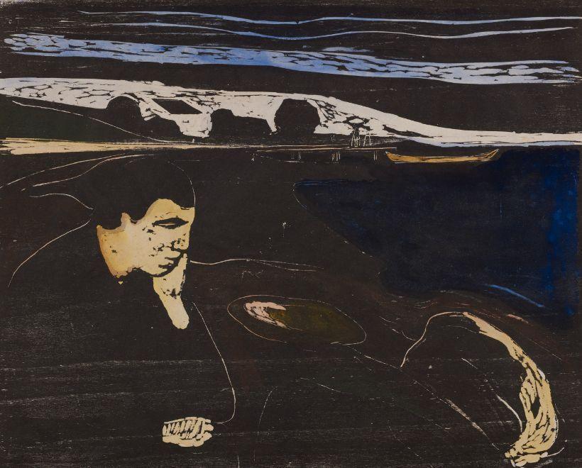 Edvard Munch, Abend. Melancholie I, 1896/97, Holzschnitt, handkoloriert, Privatsammlung Courtesy Galleri K, Oslo © Reto Rodolfo Pedrini, Zürich.