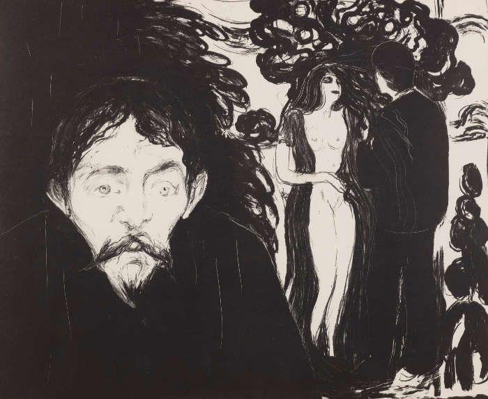 Edvard Munch, Eifersucht II, 1896/nach 1906, Lithografie, Privatsammlung Courtesy Galleri K, Oslo © Reto Rodolfo Pedrini, Zürich.