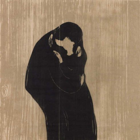 Edvard Munch, Der Kuss IV, 1902/1902-1914, Holzschnitt, Privatsammlung Courtesy Galleri K, Oslo © Reto Rodolfo Pedrini, Zürich.