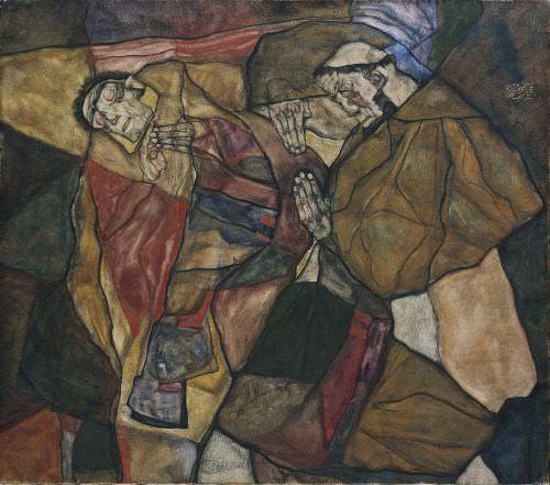 Egon Schiele, Agonie, 1912, Öl auf Leinwand, 70 x 80 cm (Bayerische Staatsgemäldesammlung München, Neue Pinakothek)