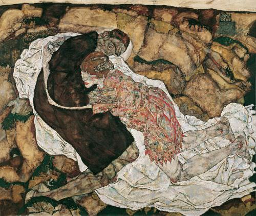 Egon Schiele, Tod und Mädchen, 1915, Öl auf Leinwand, 150 x 180 cm, Belvedere, Wien.