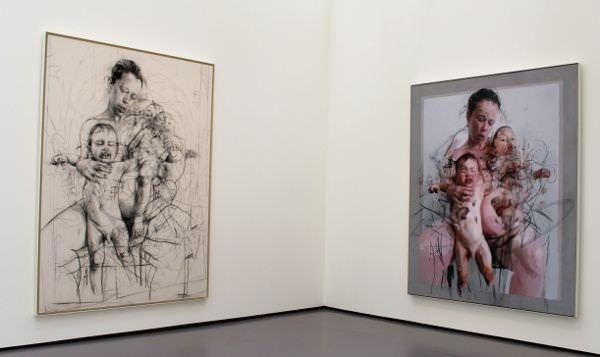 "Jenny Saville, ""Study for Pentimento"" und ""The Mothers"", 2011, Installationsansicht Kunsthaus Zürich 2014, Foto: Alexandra Matzner."