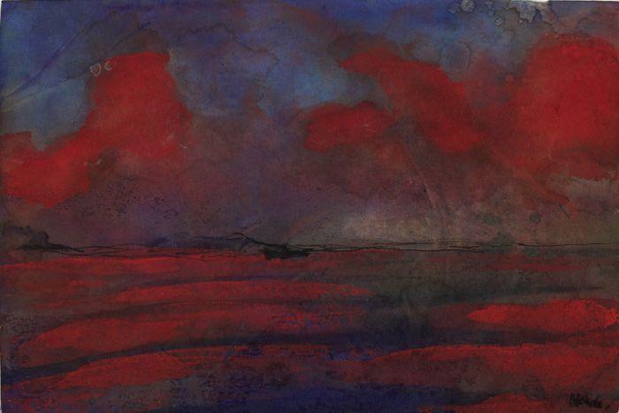 Emil Nolde, Landschaft in rotem Licht, 1938/45, Aquarell, 18,5 x 27,3 cm © Nolde Stiftung Seebüll.