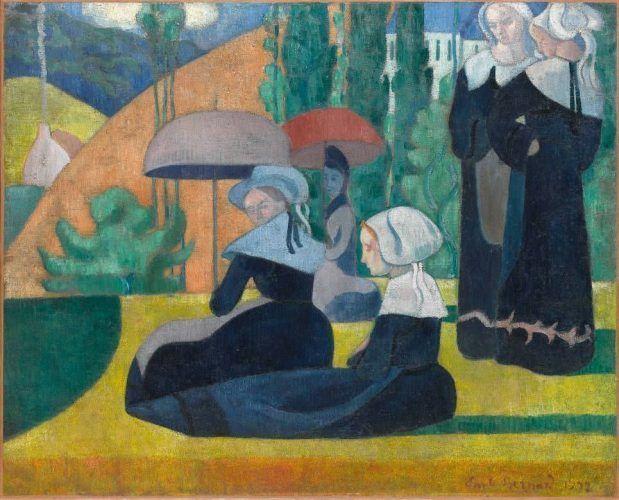 Émile Bernard, Bretoninnen mit Schirmen, 1892, Öl auf Leinwand, 81,3 × 100,3 cm, Paris, Musée d'Orsay © RMN-Grand Palais (musée d'Orsay) / Hervé Lewandowski.