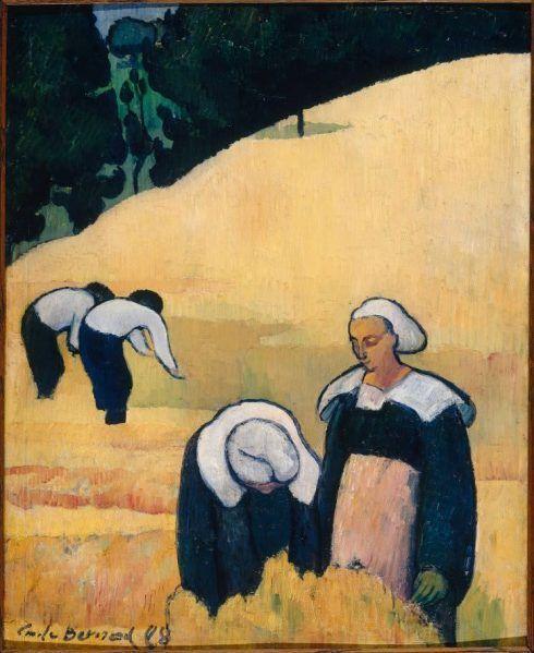 Émile Bernard, La Moisson d'un champ de blé (Ernte), 1888, Öl auf Leinwand, 56,4 × 45,1 cm, Paris, Musée d'Orsay © RMN-Grand Palais (musée d'Orsay) / Jean-Gilles Berizzi.