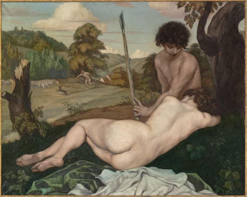 Émile Bernard, Die Rast der Hirten, Öl auf Leinwand, 120 x 150 cm, Paris, musée d'Orsay © RMN-Grand Palais Dist. RMN-Grand Palais / Patrice Schmidt.