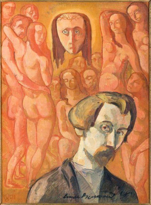 Émile Bernard, Selbstporträt mit Allegorie der Jahrhunderte, auch Vision genannt, 1891, Öl auf Leinwand, 81 × 60 cm, Paris, Musée d'Orsay © RMN-Grand Palais (musée d'Orsay) / Hervé Lewandowski.