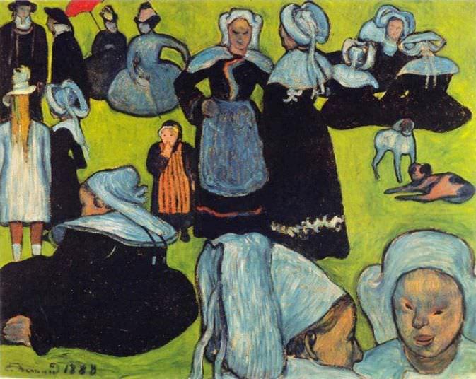 Emile Bernard, Bretonische Frauen auf einer Wiese, August 1888, Öl auf Leinwand (Privatbesitz)