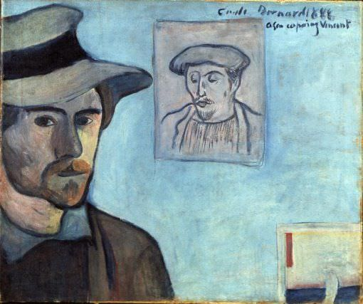 Emile Bernard, Selbstporträt mit dem Porträt Gauguins, Ende September 1888, Öl auf Leinwand (Van Gogh Museum, Amsterdam (Vincent van Gogh Stiftung))