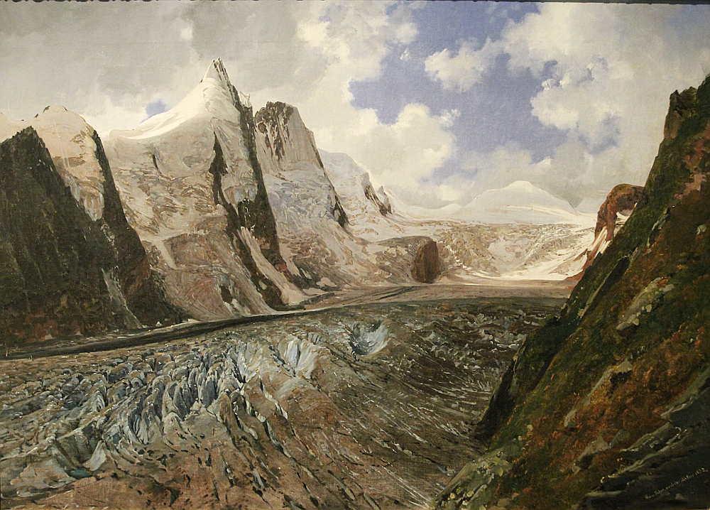 Thomas Ender, Der Großglockner mit der Pasterze, 1832, Öl auf Leinwand, 39 × 54 cm, Bez. u. r.: Thom. Ender. Nach der Natur 1832. 8Belvedere, Wien, Inv.-Nr. 6068)