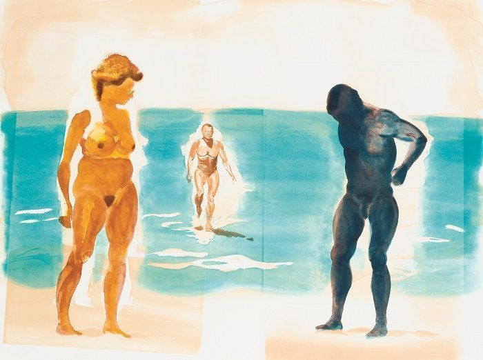 Eric Fischl, Dark Figure, 1989, Aquatinta on paper, 90 x 137 cm, Albertina, Wien © Eric Fischl.