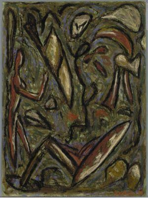 Erwin Bohatsch, In einer Landschaft, 1984, Mischtechnik auf Papier, 64,5 x 47,7 cm (Albertina, Wien)