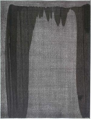 Erwin Bohatsch, Les nuits d' été, Teil 7, 2002, Lithografie mit schwarzer Acrylfarbe überarbeitet, 65 x 55 cm (Albertina, Wien)