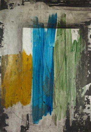 Erwin Bohatsch, Ohne Titel (06-01-2014), Öl, Acryl und Bleistift auf Papier, 63 x 43,9 cm, 2014 (Albertina, Wien)