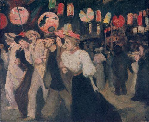 Théophile Steinlen, Le 14 juillet, 1895, Öl auf Leinwand, 38 x 46 cm. © Association des amis du Petit Palais Genève.