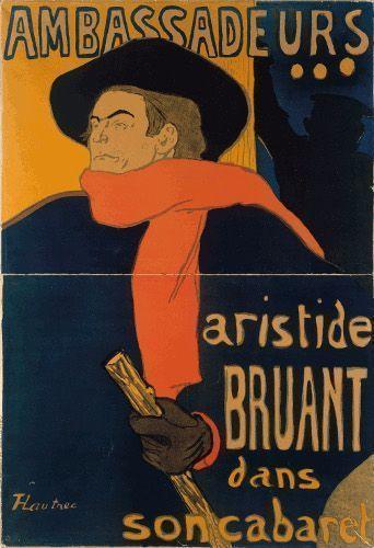 Henri de Toulouse-Lautrec, Ambassadeurs, Aristide Bruant dans son cabaret, 1892, Farblithografie (Plakat), 135 x 93,5 cm. © Kunsthalle Bremen – Der Kunstverein in Bremen. Foto: L. Lohrich.