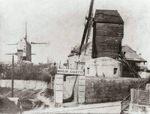 Historische Aufnahme, Montmartre, Eingang des Moulin de la Galette, 1900, Collection Société d'Histoire Le Vieux Montmartre.