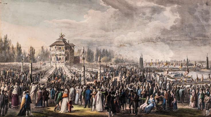 Johann Nepomuk Höchle, Das Militärfest am 18. Oktober 1814, undatiert, Aquarell, 52 x 94 cm © Akademie der bildenden Künste Wien, Kupferstichkabinett.