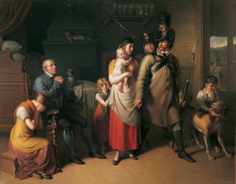 Johann Peter Krafft, Der Abschied des Landwehrmannes, 1813, Öl auf Leinwand, 281 x 351 cm © Belvedere, Wien.