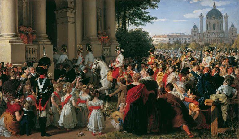 Johann Peter Krafft, Der Einzug von Kaiser Franz I., vor 1828, Der Einzug von Kaiser Franz I. (II.) von Österreich in Wien nach dem Pariser Frieden am 16. Juni 1814, Öl auf Leinwand, 38,5 x 65 cm © Belvedere, Wien.