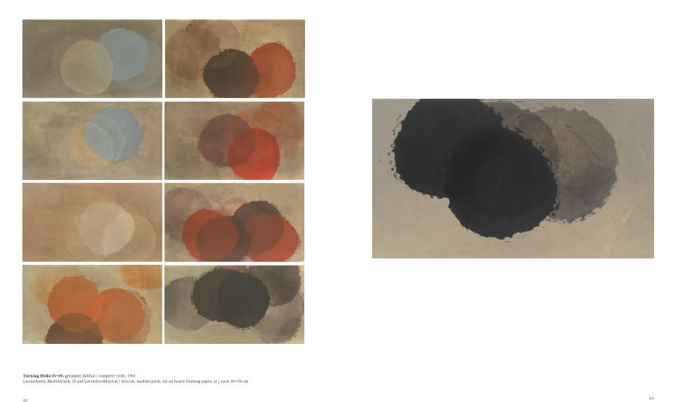 Eva Choung-Fux, Turning Disks 01–09, 1961, Linolschnitt, Moduldruck, Öl auf Löschdruckkarton, je 30 × 53 cm (MUSA) – Katalog De Gruyter, S. 82–83.