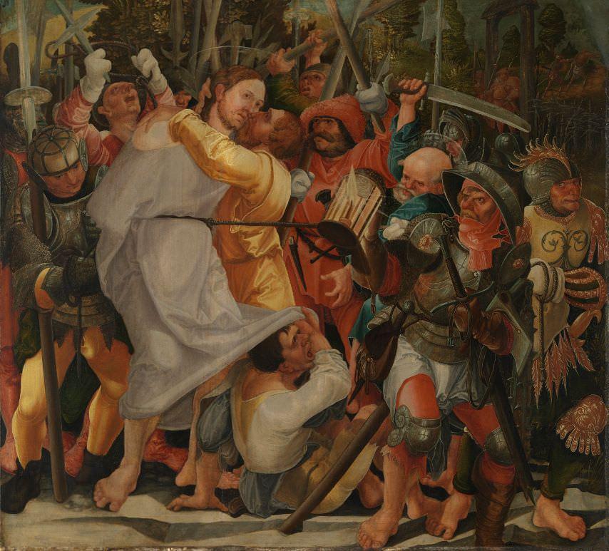 Wolf Huber (1485–1553), Gefangennahme Christi, nach 1522, Lindenholz, 60,5 x 66,8 cm, Bayerische Staatsgemäldesammlungen/ Alte Pinakothek, München, Foto: Bayerische Staatsgemäldesammlungen/ Alte Pinakothek, München.