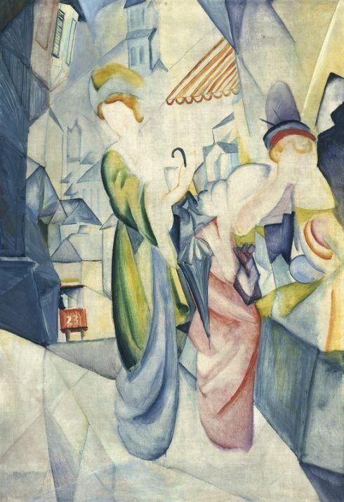 August Macke, Helle Frauen vor dem Hutladen, 1913 © Leopold Museum Vienna.