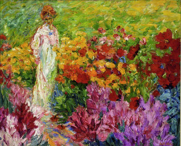 Emil Nolde, Blumengarten, Frau im weißen Kleid en face, 1908, Öl auf Leinwand, 63 x 78,5 cm, Courtesy of Osthaus Museum Hagen & Institut für Kulturaustausch, Tübingen.