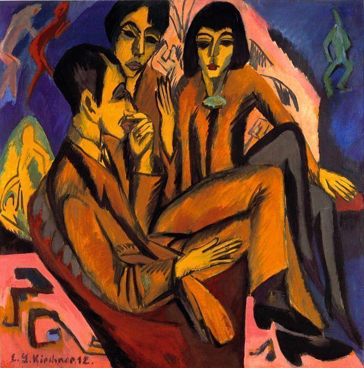 Ernst Ludwig Kirchner, Künstlergruppe (Unterhaltung der Künstler), 1913 (vom Künstler auf 1912 vordatiert) © Courtesy of Osthaus Museum Hagen & Institut für Kulturaustausch, Tübingen.