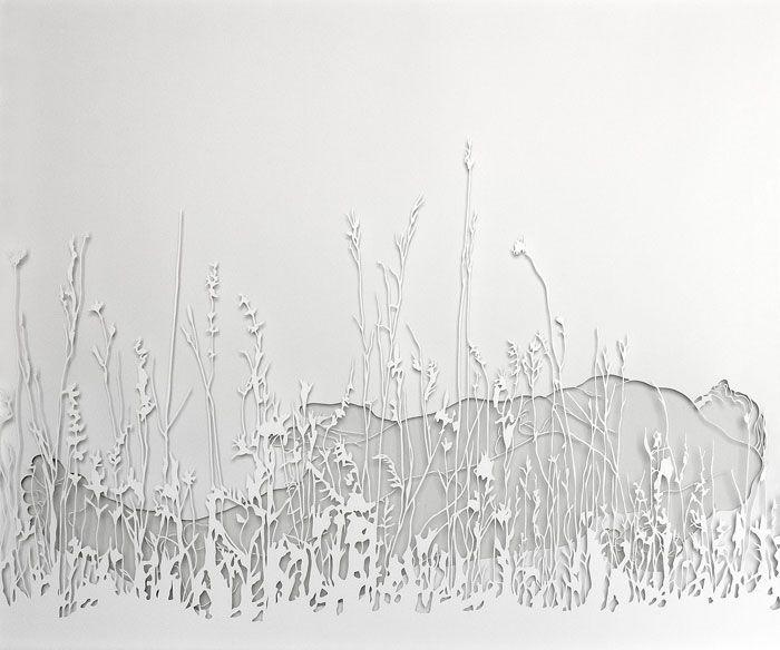 Esther Glück, Wiese, 2012, Papierschnitt.