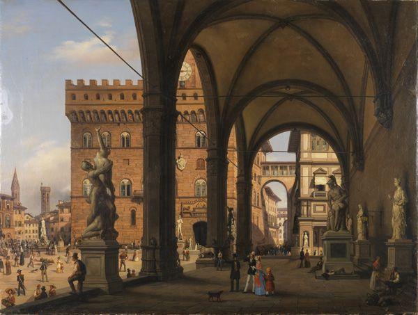 Carlo Canella, Ansicht der Piazza della Signoria von der Loggia dei Lanzi, 1847, Sammlung Ente Cassa di Risparmio, Florenz.