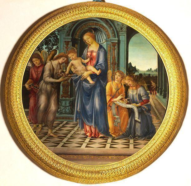 """Filippino Lippi, Madonna und Kind mit dem hl. Johannes dem Täufer und Engeln (""""Tondo Corsini""""), ca. 1481–1482, Sammlung Ente Cassa di Risparmio, Florenz."""