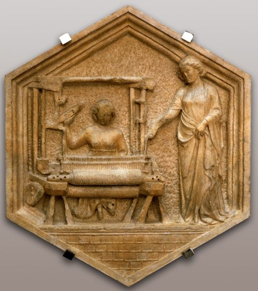Andrea Pisano und Mitarbeiter, Die Weberei, 1334–1336, Opera di Santa Maria del Fiore, Florenz © Opera di Santa Maria del Fiore - Archivio storico e fototeca, Firenze.