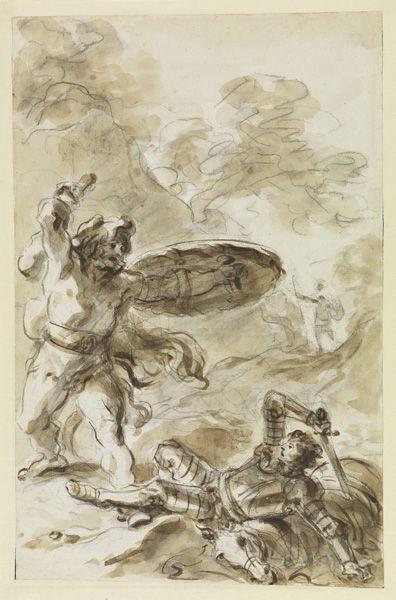 Jean-Honoré Fragonard, Roger beobachtet den Kampf zwischen einem Riesen und einem Ritter, um 1780–1785, Staatliche Kunsthalle Karlsruhe © Staatliche Kunsthalle Karlsruhe.