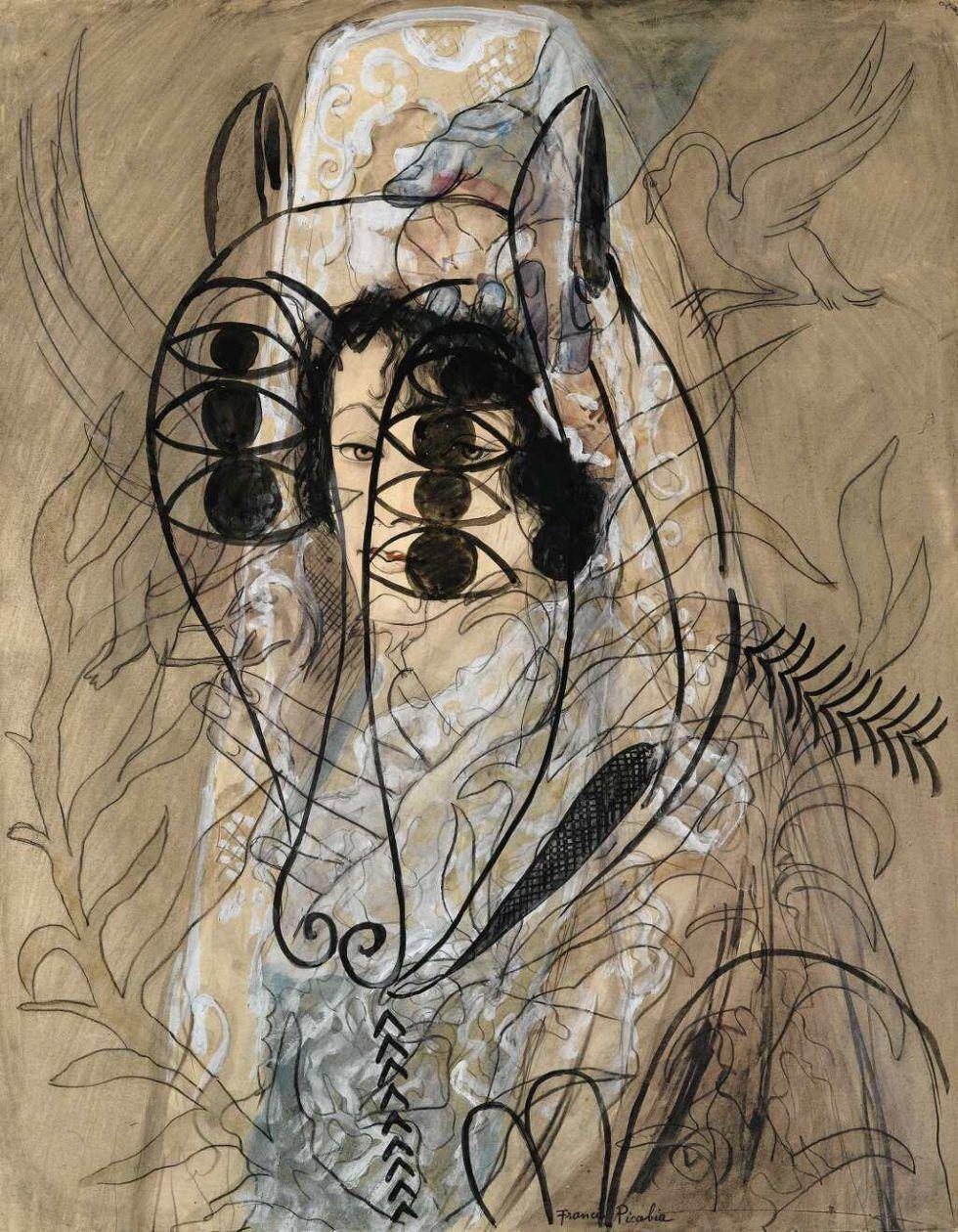 Francis Picabia, Ohne Titel (Espagnole et agneau de l'apocalypse), um 1927/28, Aquarell, Gouache, Tinte und Bleistift auf Papier, 65 x 50 cm (Privatsammlung) © 2016 ProLitteris, Zürich