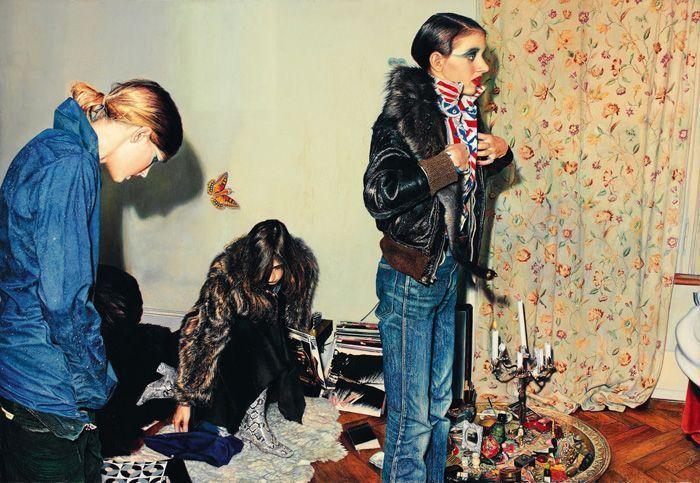 Franz Gertsch, At Luciano's House, 1973, Acryl auf ungrundierter Baumwolle, 243 x 355 cm, Sammlung Sander/ The Sander Collection © Franz Gertsch, 2013, Foto: Balthasar Burkhard, Bern.