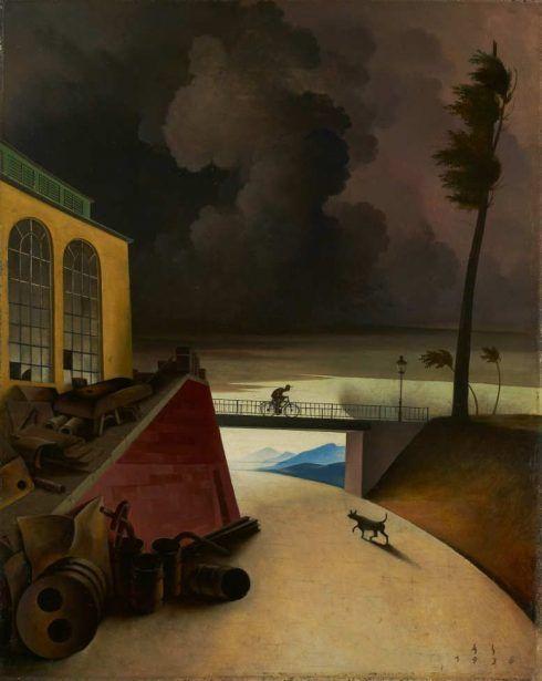 Franz Sedlacek, Gewitterlandschaft, 1936, Öl auf Sperrholz, 50 x 39,8 cm (Nordico Stadtmuseum Linz WV 111)
