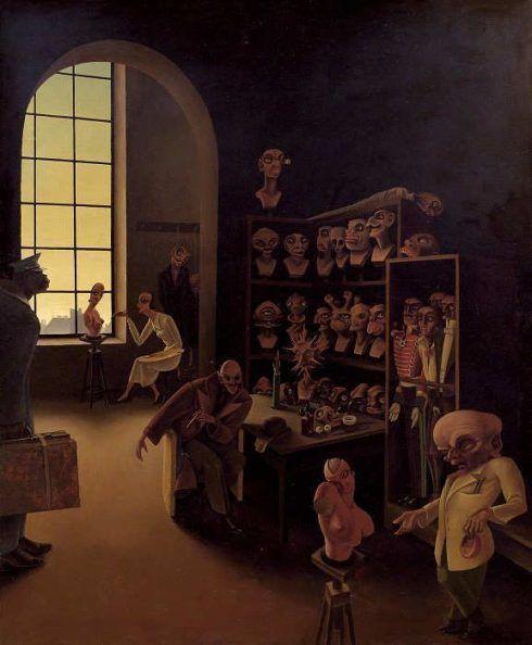 Franz Sedlacek, Beim Moulagenmacher, 1932, Öl auf Sperrholz, 72 x 60 cm (Privatsammlung, WV 77)