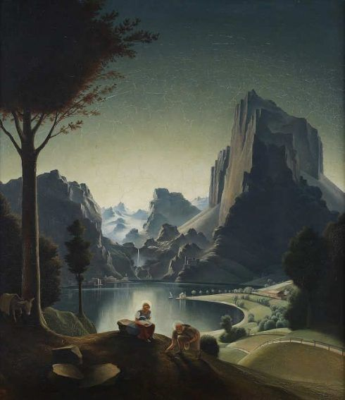 Franz Sedlacek, Rast auf der Flucht nach Ägypten, 1934, Öl auf Sperrholz, 62 x 55 cm (Oberösterreichisches Landesmuseum, Landesgalerie Linz, WV 96)