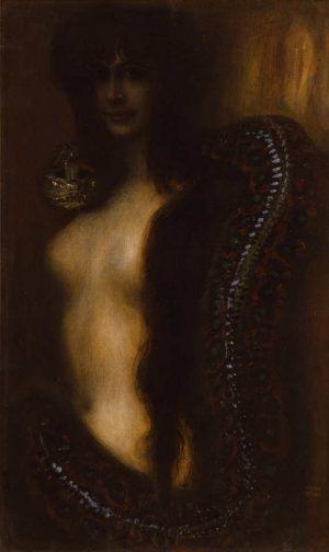 Franz von Stuck, Die Sünde, um 1895, Öl auf Leinwand, 88 x 53,5 cm (Sammlung Galerie Katharina Büttiker, Zürich)