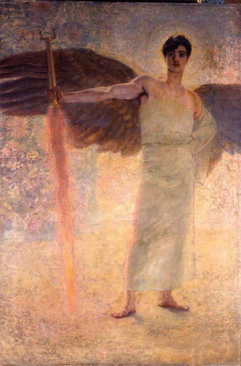 Franz von Stuck, Der Wächter des Paradieses, 1889, Öl auf Leinwand, 250,5 x 167,5 cm (Villa Stuck, München)