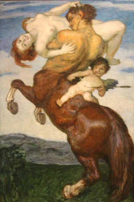 Franz von Stuck, Nymphenraub, um 1920, Öl auf Leinwand, 155 x 104 cm (Privatbesitz)