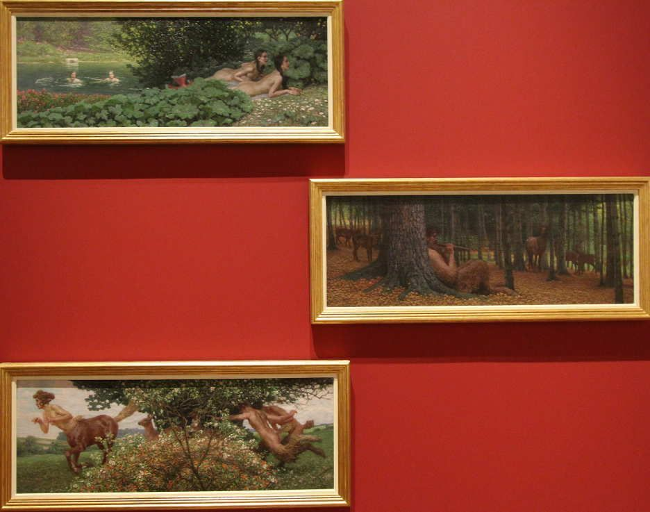 Maximilian Lenz, Triptychon Panslieder, um 1900, bis 1947 überarbeitet, Öl auf Leinwand, jeweils 37 x 102,8 cm (Bel etage, Wolfgang Bauer, Wien), Foto: Alexandra Matzner.