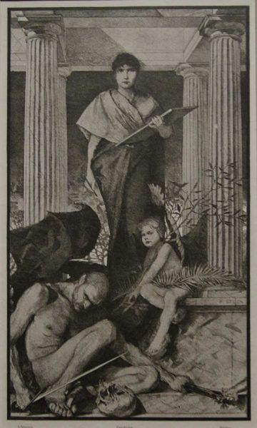 Franz von Stuck, Geschichte, aus: Allegorie und Embleme, Abtheilung I, Taf. 55a, 1882–1884, Druck, 39,5 x 30,9 cm (Privatsammlung)