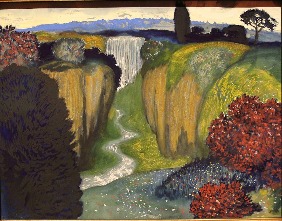 Franz von Stuck, Landschaft mit Wasserfall, um 1896, Öl auf Leinwand, 48 x 62 cm ((Bayerische Staatsgemäldesammlungen, München – Neue Pinakothek), Foto: Alexandra Mattzner.