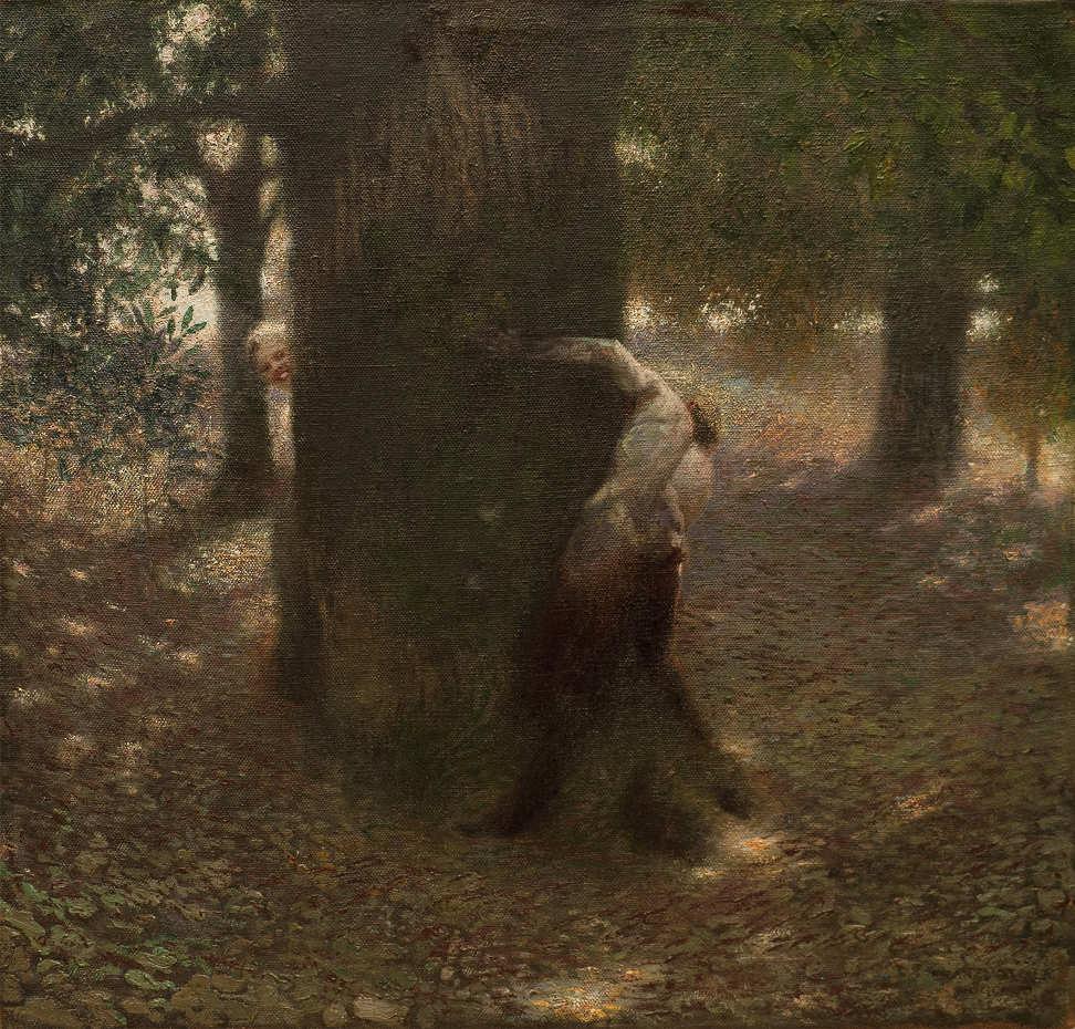 Franz von Stuck, Neckerei, 1899, Öl auf Leinwand, 47 x 49,5 cm (J.P. Schneider jr., Frankfurt a.M.)