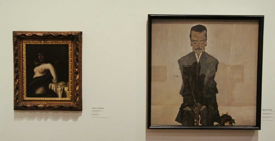 Franz von Stuck, Die Sünde und Egon Schiele im Belvedere, Installationsfotografie: Alexandra Matzner.