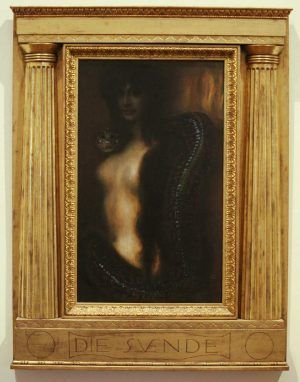 Franz von Stuck, Die Sünde, mit Rahmen, um 1895, Öl auf Leinwand, 88 x 53,5 cm (Sammlung Galerie Katharina Büttiker, Zürich), Foto: Alexandra Matzner.