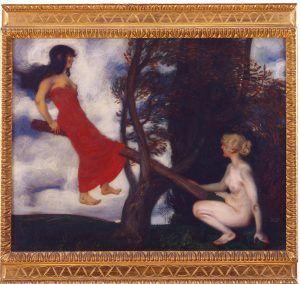 Franz von Stuck, Die Wippe, um 1898, Syntonos-Farben auf Leinwand, 59,2 x 75,4 cm (Museum Villa Stuck)